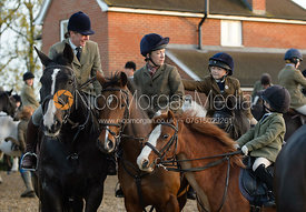 Charlotte Morgan, Lisa Ashmore, Florence Ashmore at the meet - The Cottesmore Hunt at the kennels 21/10