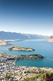 Landscape: iconic elevated view of Queenstown, New Zealand