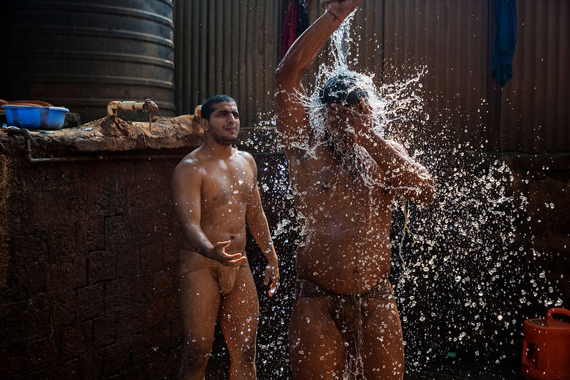 Kushti Wrestler Washing after a Training Session
