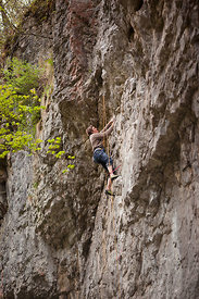 Rock climbing in Chee Dale