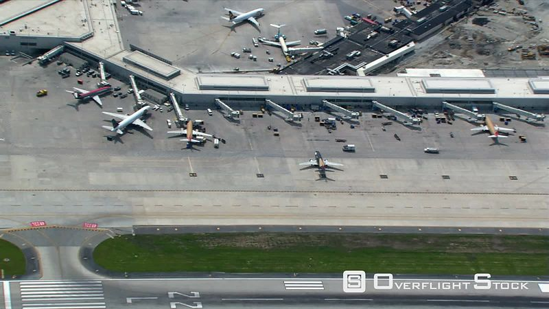 Aerial zoom-out from Chicago's O'Hare Airport.