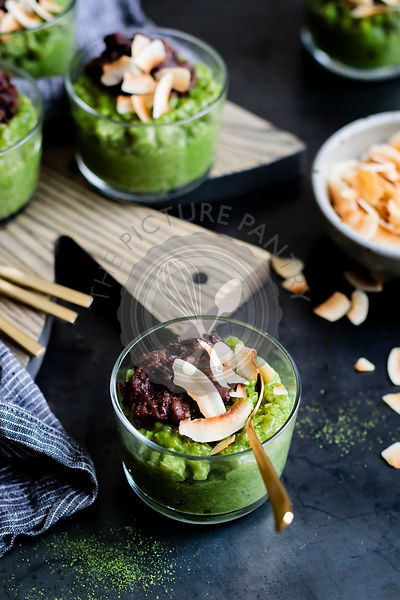 Coconut Matcha Rice Pudding with Date Adzuki Bean Paste