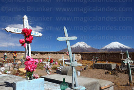 Plastic roses on wooden cross in Caquena cemetery, Payachatas volcanos in background, Region XV, Chile