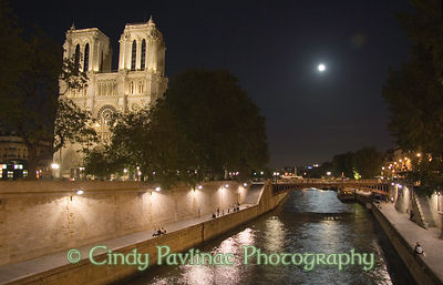 Full Moon Rise over Seine and Notre-Dame Cathedral, Paris