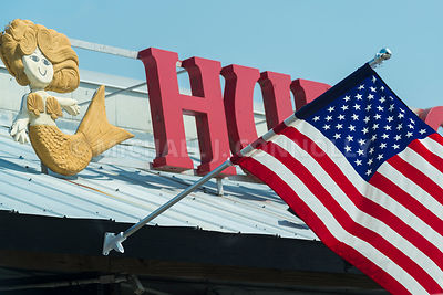 Flag and Sign- Hudson's Restaurant, Hilton Head Island, SC