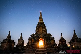 Temple at night under the stars, Bagan, Myanmar