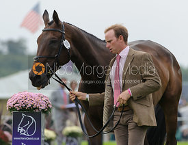 Michael Owen and THE HIGHLAND PRINCE - The first vets inspection (trot up),  Land Rover Burghley Horse Trials, 3rd September 2014.
