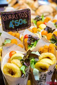 Burritos for sale, La Boqueria market, Barcelona, Spain