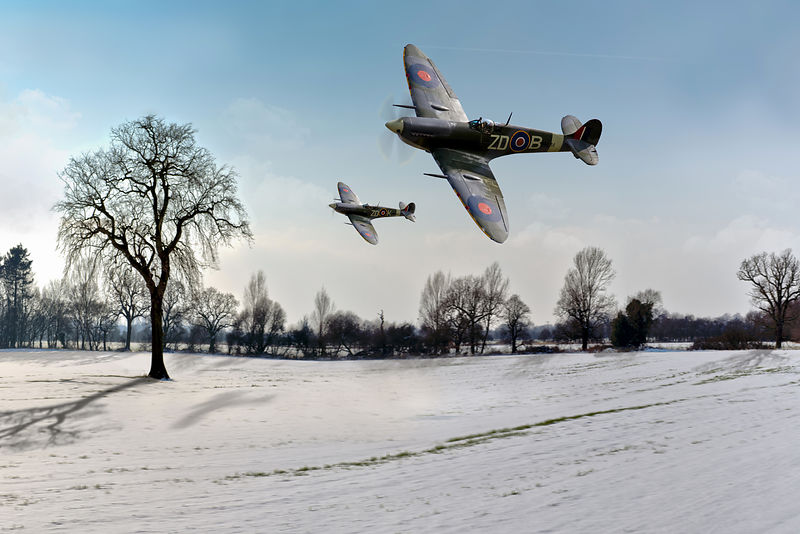 Low-flying Spitfires in winter