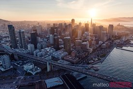 Aerial of Bay bridge and downtown  San Francisco, California, USA