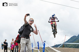 Rachel Atherton flying towards her 10th victory at the UCI Downhill Worldcup in Leogang, Austria.