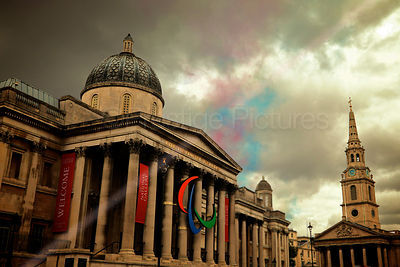 Dramatic Skies over The National Gallery by Trafalgar Square in London