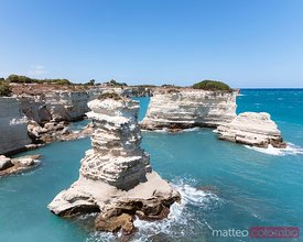 White cliffs and sea stacks, Salento, Apulia, Italy