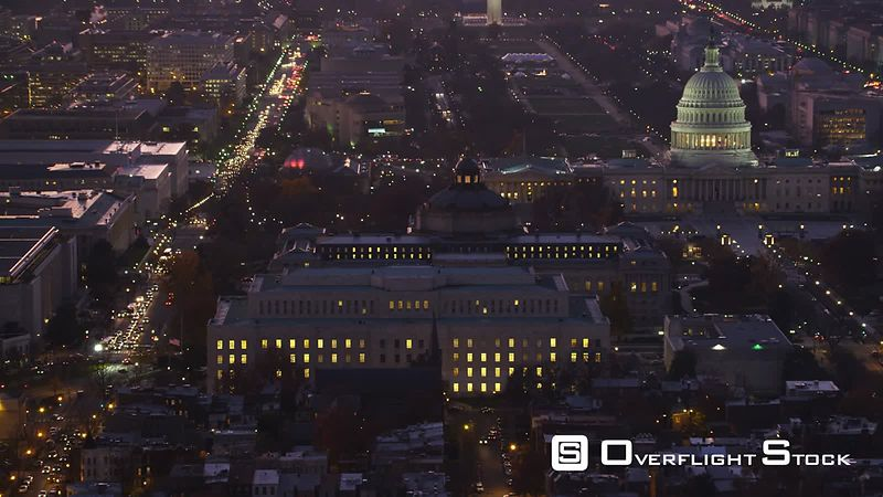 Zoom-out from Capitol Hill to Wide View of Washington DC at Dusk.