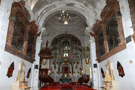 Interior of church of Santiago the Apostle / Immaculate Conception, looking towards main altar, Lampa, Peru