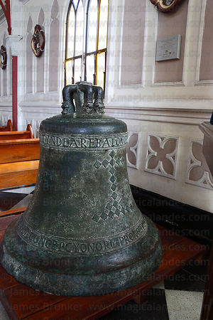 Bell of original church inside San Marcos church, Arica, Region XV, Chile
