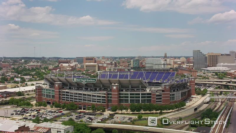 Baltimore, Maryland Aerial view of M&T Bank Stadium, home to Baltimore Ravens football team.   Shot with Cineflex and RED EpicW Helium.