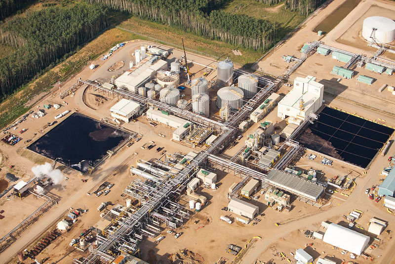 A SAG D (Steam assisted Gravity Drainage) tar sands plant north of Fort McMurray. The SAG D is used to extract the bitumen from the tar sands when they are too deep to be strip mined.  August 2012