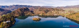 Panoramic view of Bled lake and island in autumn, Slovenia