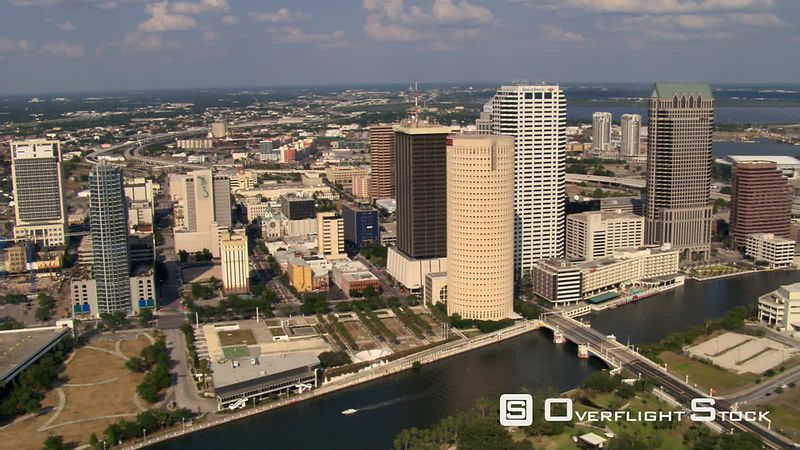Downtown aerial of Tampa, Florida skyscrapers