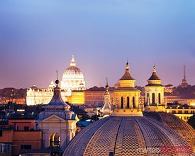 St. Peter's cathedral dome and roofs at dusk, Rome, Italy