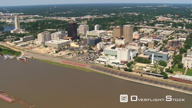 Approaching and orbiting downtown Baton Rouge near Louisiana capitol building.
