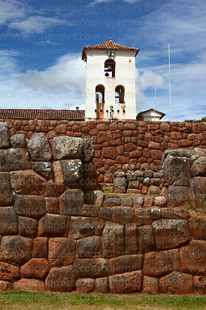 Spanish colonial church built over original Inca site, Chinchero, near Cusco, Peru