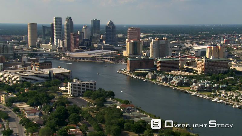 Wide aerial view of downtown Tampa, Florida