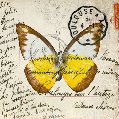 Handwritten old postcard with butterfly