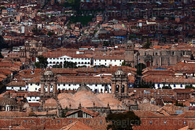 View of historic centre and cathedral, Cusco, Peru