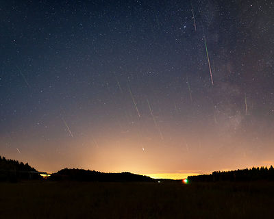 40 Perseids above the landscape in Southern Finland on August 14 2018. Composite image photographed between 01.17 and 02.06.