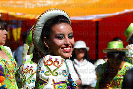 Portrait of caporales dancer at Gran Poder festival, La Paz, Bolivia