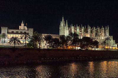 Palma cathedral Mallorca at night