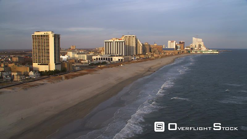Aerial view of Atlantic coast by boardwalk area of Atlantic City.