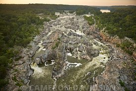 Aerial photograph of Great Falls on the Potomac River west of Washiongton DC on a summer day.