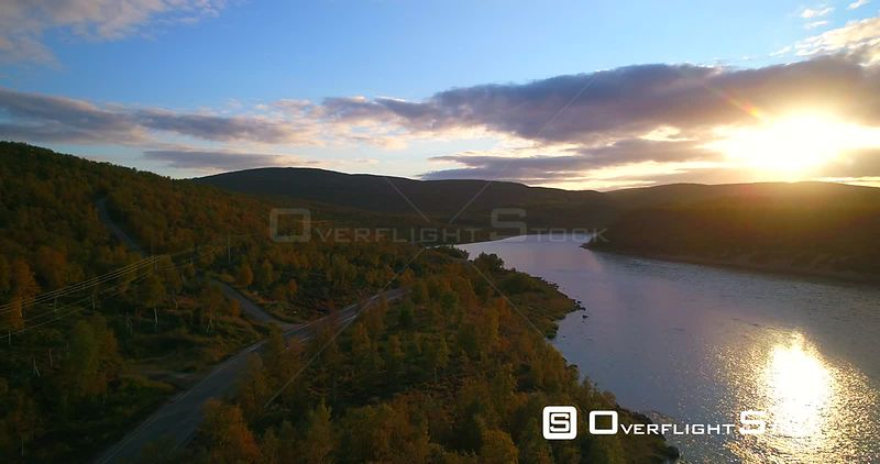 Mountain Road, Aerial View Over Road 970 the Tenontie, Near Tenojoki River, at the Border of Norway and Utsjoki, on a Sunny Autumn Color Evening Dawn,in Lapland, Lappi, Finland