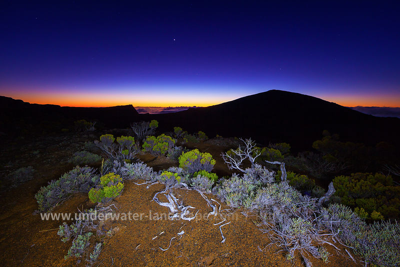 Blue Hour on Réunion island Volcano