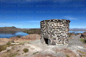 Restored rough stone chulpa / burial tower, Sillustani, Peru