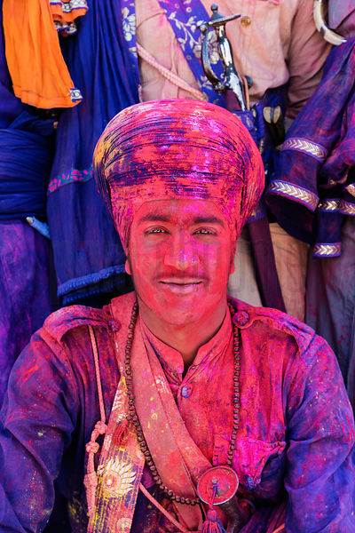 Portrait of a Sikh Nihang Covered with the Colours of Holi