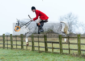 Harry Horton jumping a hunt jump at Goadby Hall