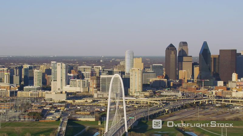 Dallas, Texas Aerial view of Margaret Hunt Hill Bridge and city buildings