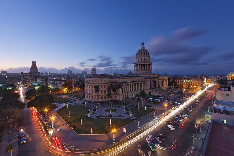 Elevated View of the Capitolio at Dusk