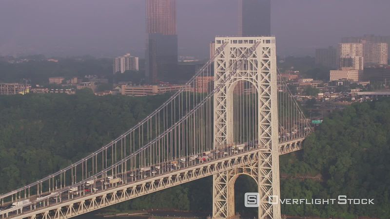 New York City Aerial view of George Washington Bridge along the Hudson River.   Shot with Cineflex and RED EpicW Helium.