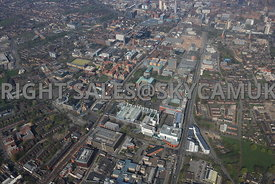 Manchester high level view of the University of Manchester and Manchester Metropolitan University Campus and the Manchester Science Park