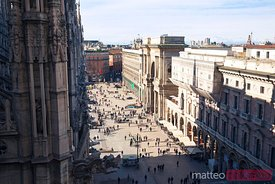 Piazza del Duomo and Galleria Vittorio Emanuele  from the Duomo, Milan, Italy