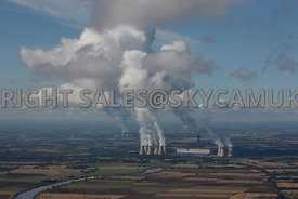 Yorkshire aerial photograph of the Three Power Stations Drax's Eggborough and Ferrybridge Stations with white plumes against a blue sky