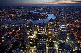 Aerial London Canary Wharf Evening