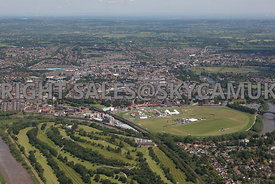 Chester high level aerial view looking from Chester golf Course towards Chester Race Course and Chester city centre towards the horizon