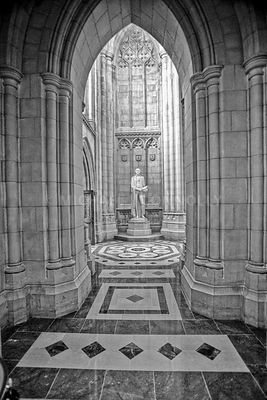 National Cathedral George Washington Statue (B&W)- Washington, DC