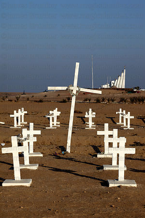 Crosses honouring dead soldiers at monument at site of Battle of Alto de la Alianza , near Tacna , Peru